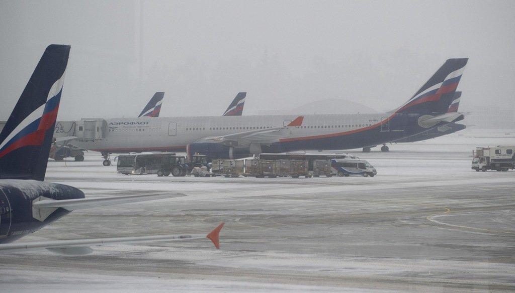 ВШереметьеве из-за сильного снега отменены 14 рейсов «Аэрофлота»