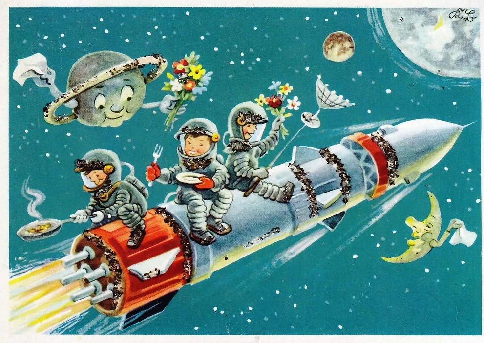 Брат открытки, открытка с днем космонавтики советская